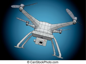 wireframe white drone - Wireframe illustration of a drone or...