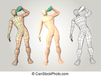 Wireframe human figure drinking from a bottle