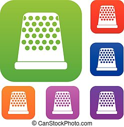 Thimble set collection - Thimble set icon in different...