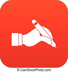 Hand holding black pen icon digital red