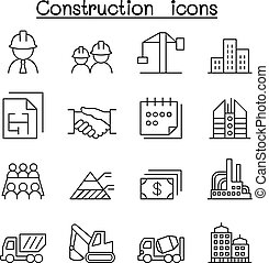 Construction icon set in thin line style