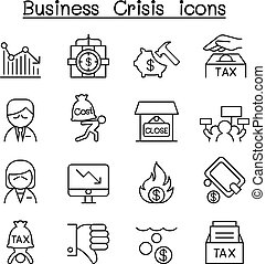 Business Crisis, Debt, Cost, Tax icon set in thin line style