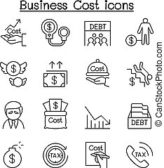 Business Cost , Debt, Tax, Crisis icon set in thin line style