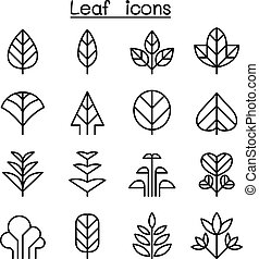Leaf & Tree icon set in thin line style - Leaf & tree icon...