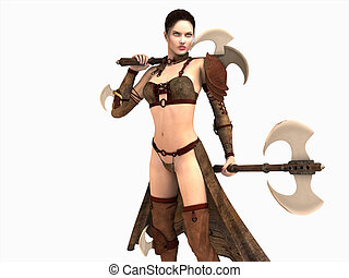 warrior woman - 3d illustration of a warrior woman isolated...