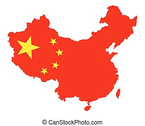 Vector China map with national flag isolated on white