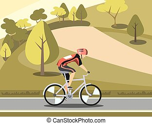 Sport athlete cyclist in park