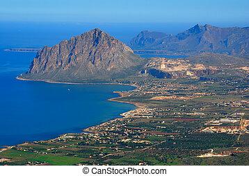 Gulf of Bonagia (mount Cofanor) view from Erice, Sicily -...