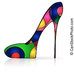 abstract colored image of the shoe - white background and...