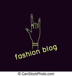 Fashion blogger - Icon fashion blogger. Hand with manicure...