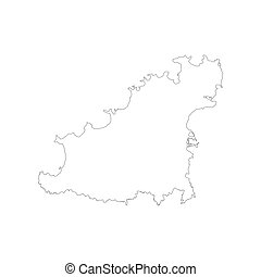 Bailiwick of Guernsey map on the white background. Vector...