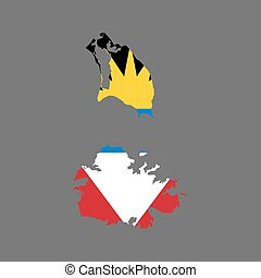 Antigua and Barbuda map and flag on the grey background....