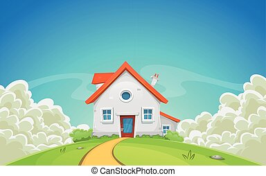 House Inside Nature Landscape With Clouds