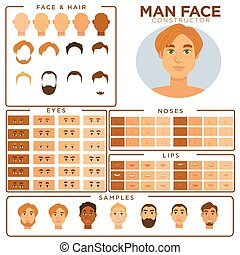 Man face constructor skin, haircut nose and eyes templates vector set