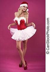 Her light skirt is very girlish