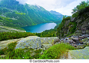 Morskie Oko in Tatry. - Lake in mountains. Morskie Oko in...