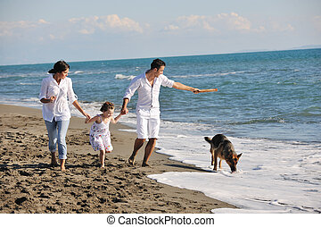 happy family playing with dog on beach - happy young family...