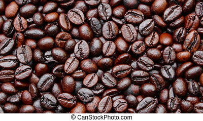 Coffee Beans Rotation - close up Coffee Beans Rotation