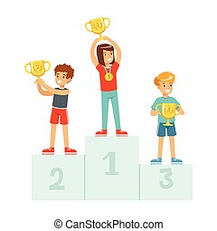 Happy children standing on the winner podium with prize cups and medals, sport athletes kids on pedestal cartoon vector Illustration