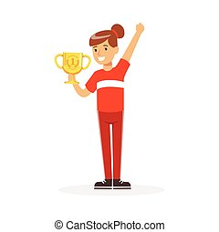 Happy athletes girl in red sports uniform holding winner cup, kid celebrating her victory cartoon vector Illustration