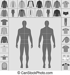 Men's clothing set - Men's large clothing outlined template...