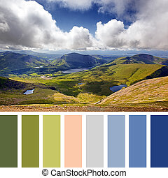 Snowdonia palette - Scenic view of the mountains and lakes...