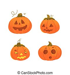 Set of cartoon Halloween pumpkin jack-o-lanterns - Set of...