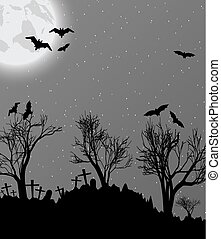 Halloween background with cemetry, bats and moon - Halloween...