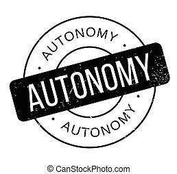 Autonomy rubber stamp. Grunge design with dust scratches....
