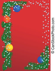 Christmas border on the red background, postcard, frame....