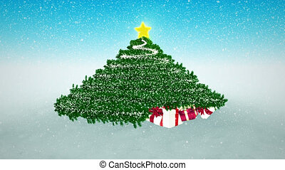 Snowy Christmas Background. Gifts under Christmas Tree and...