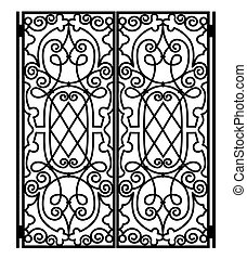 Forged iron gate - Black metal gate with forged ornaments on...
