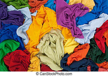 Bright messy clothing background - Lots of bright messy...