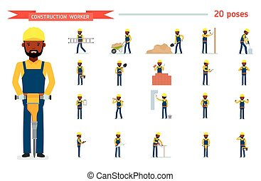 Set of construction worker. Ready to use character set....