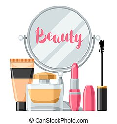 Cosmetics for skincare and makeup. Background for catalog or...