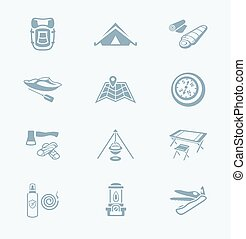 Camping icons || TECH series - Camping equipment and tools...