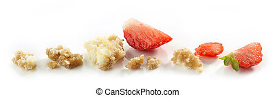 strawberry cheese cake crumbs isolated on white background