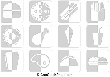 fast food icons - Set of different fast food icons in gray...