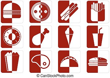 Fast Food icons - Set of different fast food icons in red...