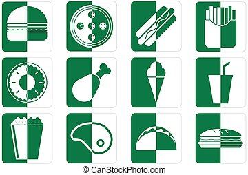 Fast food icons - Set of different fast food icons in green...