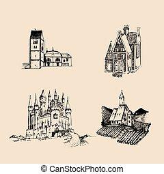 Vector medieval landscapes illustrations set. Hand drawn...