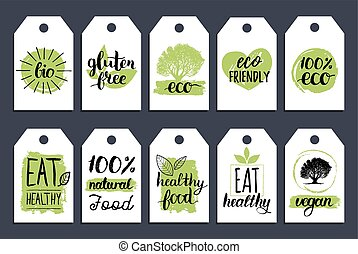 Vegan, healthy food cards or tags set for cafe,restaurant, packaging etc. Vector eco, organic signs with hand lettering.
