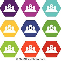 Group of people with unknown personality icon set color hexahedron