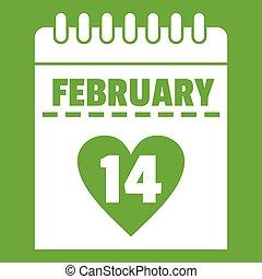 Valentines day calendar icon green
