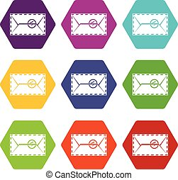 Mail envelope with a stamp icon set color hexahedron