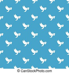 Dove carrying envelope pattern seamless blue - Dove carrying...