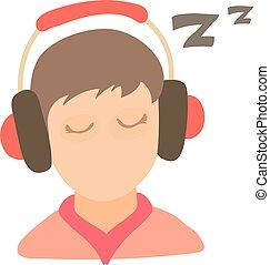 Little boy sleeping icon, cartoon style