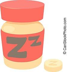 Sleeping pills icon, cartoon style - Sleeping pills icon....