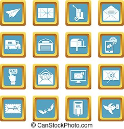 Poste service icons azure - Poste service icons set in azur...