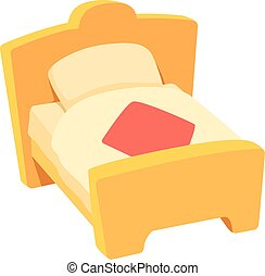 Bed icon, cartoon style - Bed icon. Cartoon illustration of...